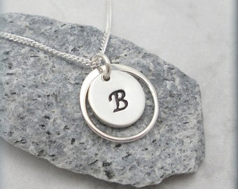 Encircled Initial Charm Necklace Personalized Monogram Jewelry Sterling Silver Ring Circle Custom Simple Bridesmaid Gift Everyday SN736