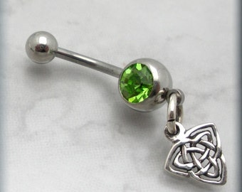 Celtic Trinity Knot Belly Ring Triquetra Body Jewelry Navel Piercing Peridot Crystal (BR125)
