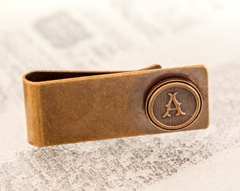 Antiqued Brass Money Clip Choose Any Letter - Personalized MoneyClip, Antiqued Brass - Made to Order