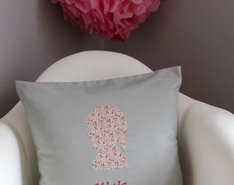 Custom Fabric Silhouette Decor Pillow with Embroided Name