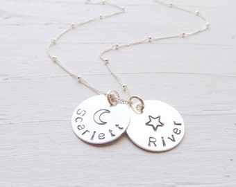 Star Moon Name Necklace Handstamped Necklace Personalized Jewelry Star Pendant Moon Charm Sterling Silver Circle Pendants