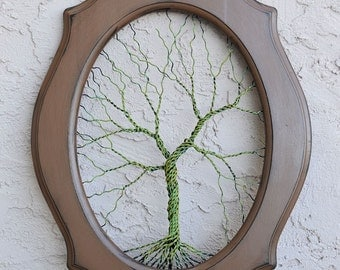 Original Unique Art Large Tree Abstract Sculpture / Wire tree on vintage shabby style salvaged frame / nature art gift / large wall art