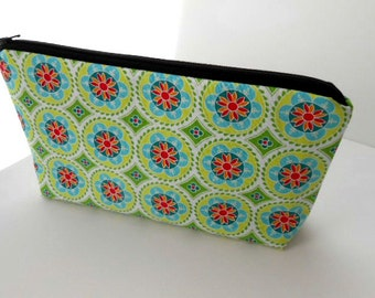 Large Cosmetic Zipper Pouch Large Padded Cosmetic Bag Flat Bottom Zipper Pouch Clutch ECO Friendly Green Madhuri Medallions
