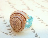 Blue Filigree Sea Shell Ring