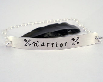 Warrior - Sterling Silver Bar Bracelet, Unique Gift to honor the warrior spirit within - Inspirational Jewelry