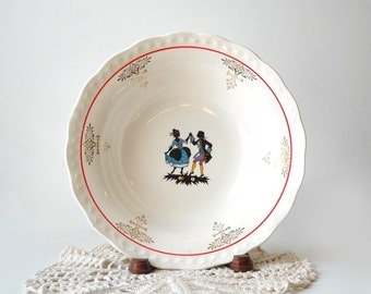 Vintage Pottery Dancing Couple Round Serving Bowl, Color Silhouette, Red Line