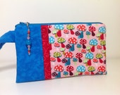 Pink and red mushroom Wristlet with Beaded Zipper Pull