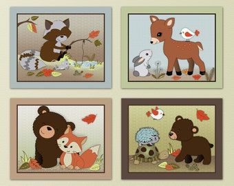 Set of Four Friends of the Forest prints, nursery wall art. Matches Forest Friends crib bedding.
