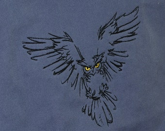 Messenger Bag Embroidered with a Flying Owl