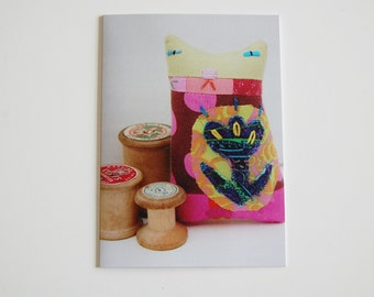 SALE Cat Greeting Card - Textile Art Doll and Cotton Reels