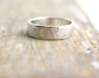 Raw Silk Textured Silver Band Ring