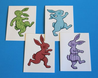 Set of Four Illustrated Bunny Rabbit Blank Notecards