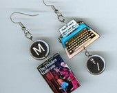 Book Cover Earrings - Nancy Drew Typewriter quote - The Hidden Staircase Mystery -bookish readers librarian literary jewelry gift