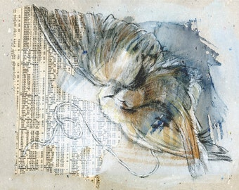 "Original Collage, Mixed media, ""Gravity"", bird, newsprint, flight, flying"