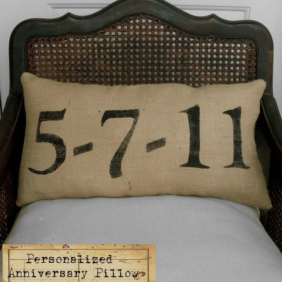 Remember the Day - Burlap  Feed Sack Pillow - Personalize with a  special date in your life
