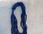 Dark Blue Hand Crocheted Chain Necklace Summer Scarf - Great for Summer or Spring - Makes a great Gift