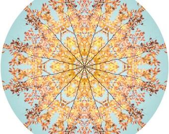 Sunny Yellow and Aqua Home Decor, Nature Decor, Mandala Wall Art, Abstract Art, Nature Photography, Yellow Wall Art, Fine Art Giclee Print