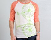 OOPS Medium BIKE BASEBALL Tee unisex long sleeve 3/4 sleeve tangerine pullover w/ lime fixie bicycle 013