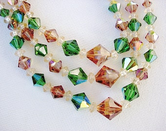Lovely Vintage Green and Brown Triple Stand Crystal Necklace