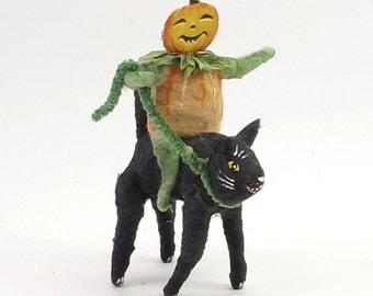 Vintage Inspired Spun Cotton Pumpkin Boy Riding Black Cat Figure