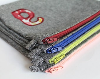 Gray linen Custom Initial zipper pouch. Letter A-a Monogrammed purse. Red wine for wedding bridesmaids wedding birthday shower gifts.