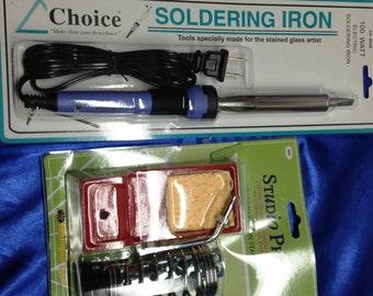 Soldering Tools COMBO - Choice 100 watt Soldering IRON, plus a Heavy Iron STAND