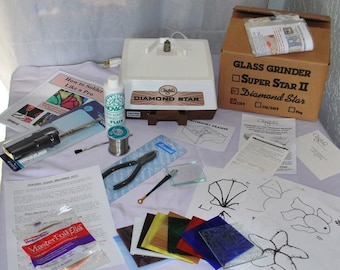Stained Glass Beginner Kit – GLASTAR GRINDER, Iron, Solder,Tools, Instructions, plus Stained Glass to make suncatchers!