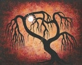 Willow tree, Sun, Fine ART, Original Acrylic painting by Jordanka Yaretz