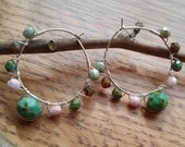 Happy Spring Czech Glass Beaded Hoop Earrings