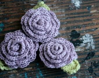 Crocheted Linen Flowers Brooch -- lilac