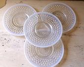Set of Four Moonstone Opalescent Hobnail Dessert Plates