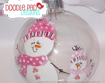 Mother Daughter Hand Painted Snowman Ornament - Personalized FREE