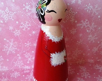 Hand Painted Love Boxes Noel Christmas Caroler Peg Doll Wood