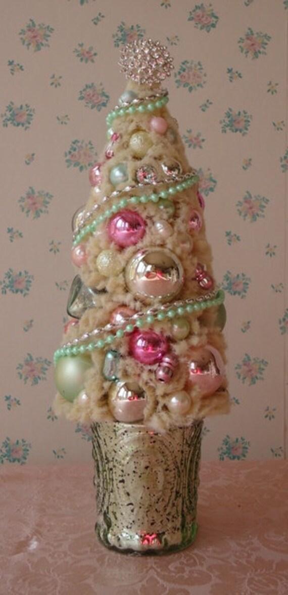 Shabby bottle brush christmas tree mint green mercury glass