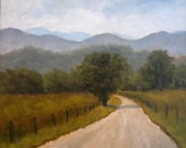 Tennessee Country Road Original Oil Painting 6x6 inches Smoky Mountains National Park Cades Cove Sparks Lane