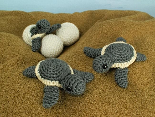 Complete Amigurumi Collection : PDF Baby Sea Turtle Collection three amigurumi CROCHET