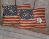 Set of 2 - Primitive - Patriotic - Rustic - USA - July 4th - Olde Glory - Americana - Flag - Bowl Fillers - Ornies with Rusty Stars