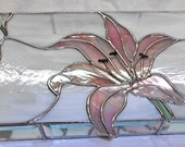 Pink Lily Double Wide Stained Glass Jewelry Box 14x8x2