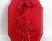 Gloss Red  Skull  Damsel  Shabby Chic Baroque Gothic Victorian Tattoo