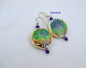Mood Bead Earrings with Purple Swarovski Crystals Color Changing Bead Earrings