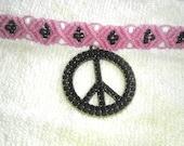rhinestone large peace sign hand knotted macrame hemp choker SALE