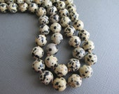 Dalmatian Jasper Necklace, Long Beaded Boho Necklace, Natural Stone Jewelry, Polka Dot Necklace