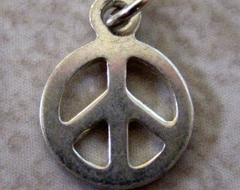 SALE  Sterling Silver Mini Peace Sign Charm