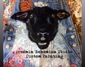 Hand Painted Denim Overalls for FFA Stockshow Sheep Lamb Custom Painting on Denim