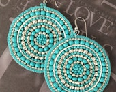 Silver and Turquoise Seed Beaded Earrings - Big Bold Multicolored Disc Earrings