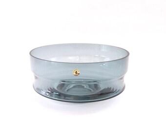 Riihimaen Blue Art Glass Serving Bowl Riihimaki Grey Gray