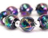 Mordor  - Handcrafted Black Rainbow Lampwork Glass Beads by Clare Scott SRA 9 Bead Set.