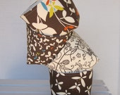 Mini Fabric Storage Container Organizer Bins Baskets - Set of 4 - Moda Chrysalis by Sanae - Brown and Cream