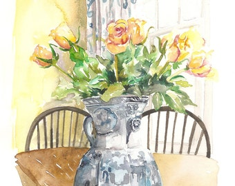 Original Watercolor of Yellow Roses in Blue Willow Vase