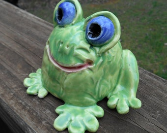 Hand sculpted  Lime Green  Ceramic Garden Frog